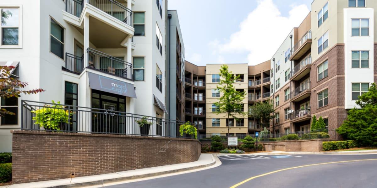Street view of the entrance to Marq Eight in Atlanta, Georgia