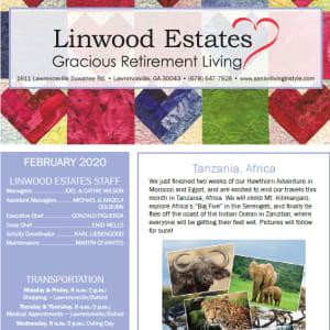 February Linwood Estates Gracious Retirement Living newsletter