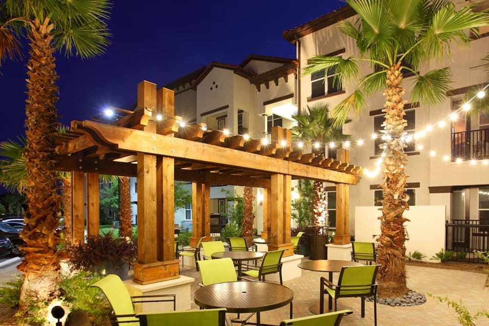 Outdoor patio at night at Jefferson Westshore in Tampa, Florida