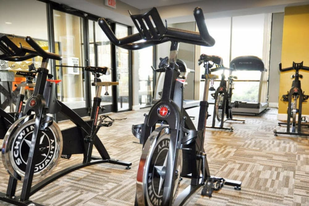 Resident gym with individual workout stations at Goldelm at Metropolitan in Knoxville, Tennessee
