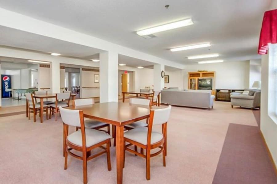 Clubhouse with lots of seating at Regency Heights in Iowa City, Iowa