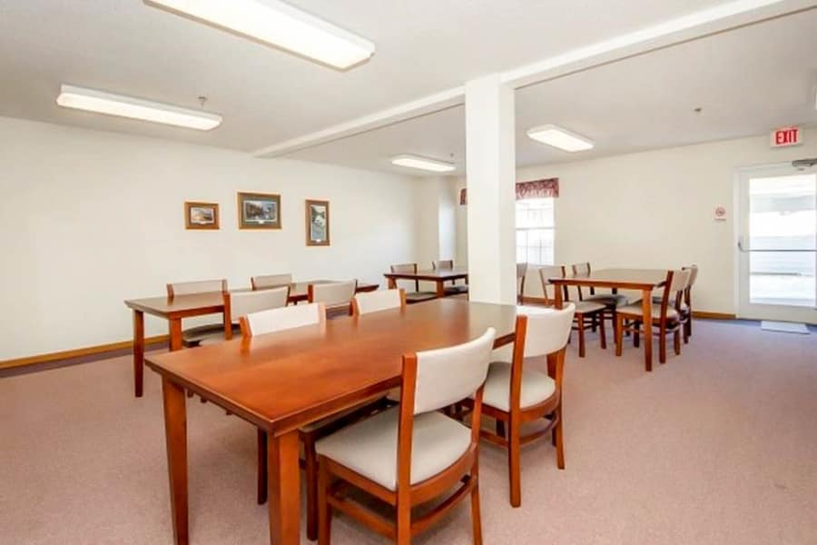 Large table seating for groups at Regency Heights in Iowa City, Iowa