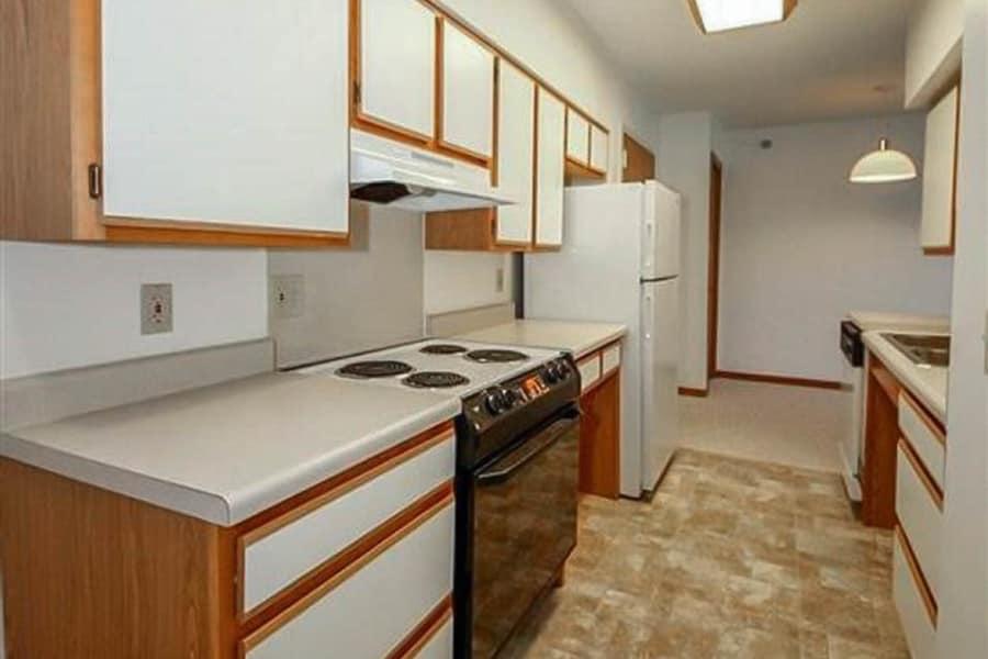Bright kitchen at Regency Heights in Iowa City, Iowa