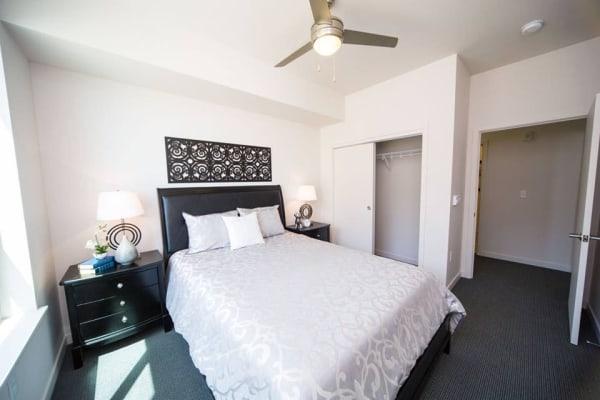 Cozy bedroom at South Block Apartments in Salem, Oregon