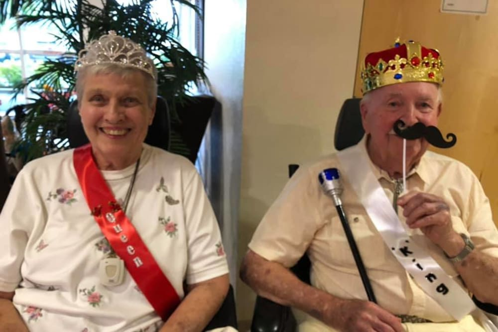 Residents dressed up as a king and queen at Balmoral Assisted Living in Lake Placid, Florida