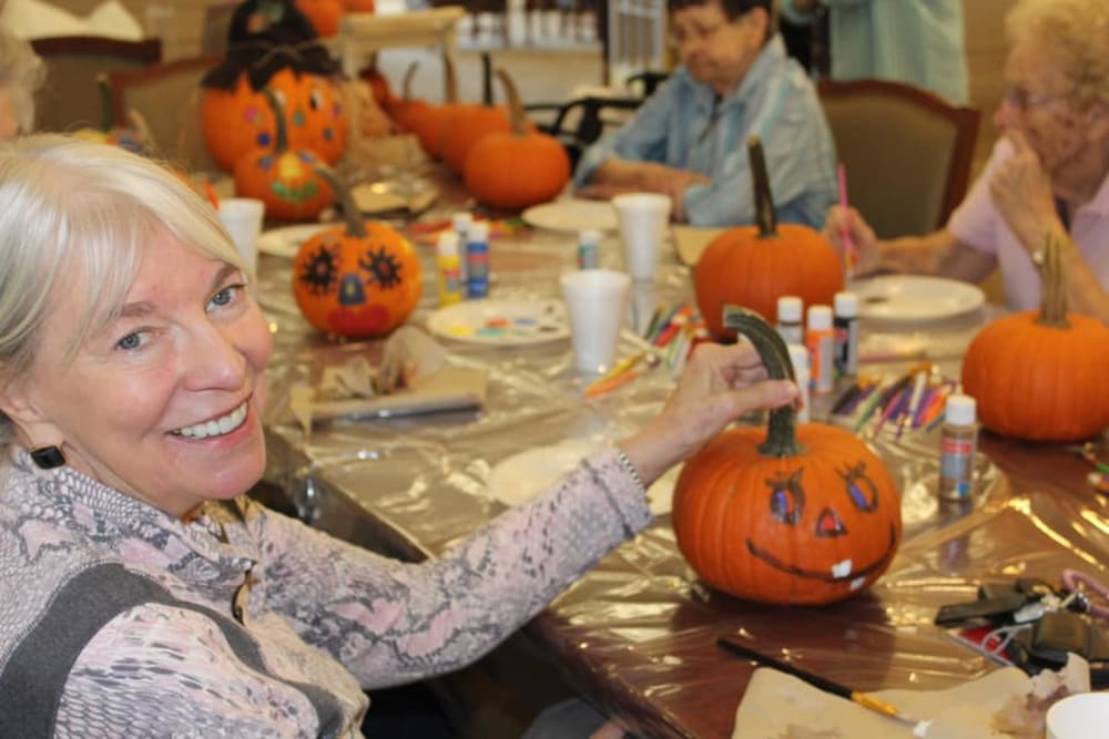 Residents painting pumpkins at Brentwood at Elkhart in Elkhart, Indiana