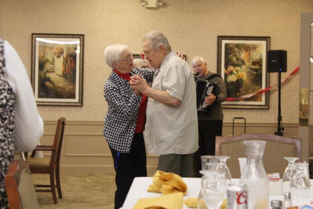 Residents dancing at Brentwood at Elkhart in Elkhart, Indiana