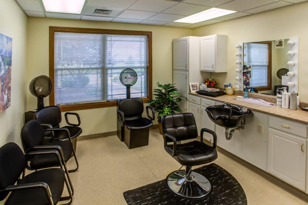 Hair salon for residents at Prairie Hills Clinton in Clinton, Iowa.