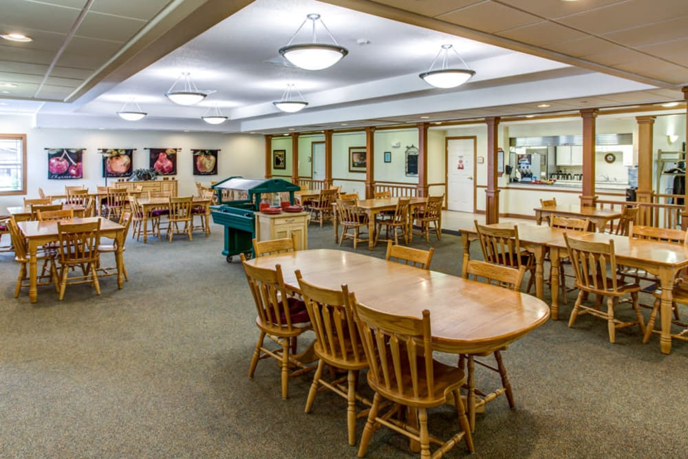 Spacious resident dining room at Prairie Hills in Independence, Iowa.