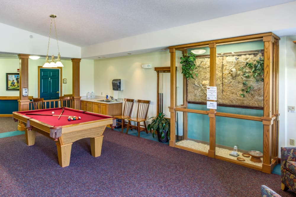 Billiards room for residents at Prairie Hills Independence in Independence, Iowa.