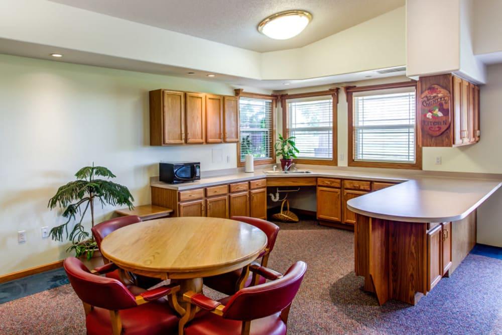 Breakfast nook and kitchenette at Prairie Hills in Tipton, Iowa.