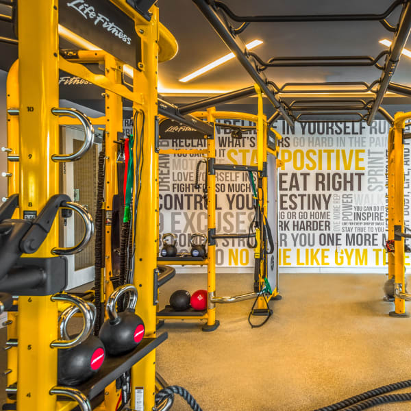 Yellow fitness center at The Chase at Overlook Ridge in Malden, Massachusetts