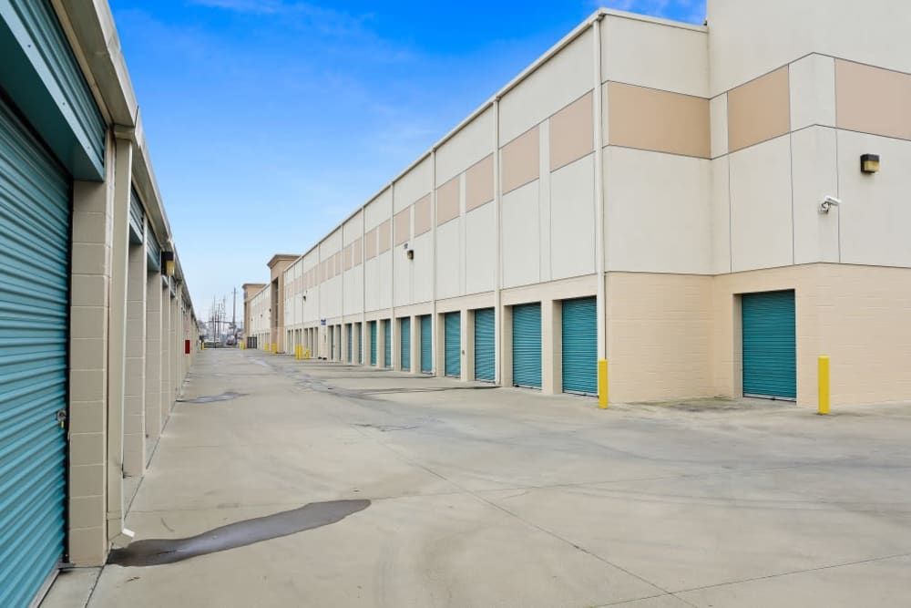 A row of indoor storage units at A-1 Self Storage in Oakland, California
