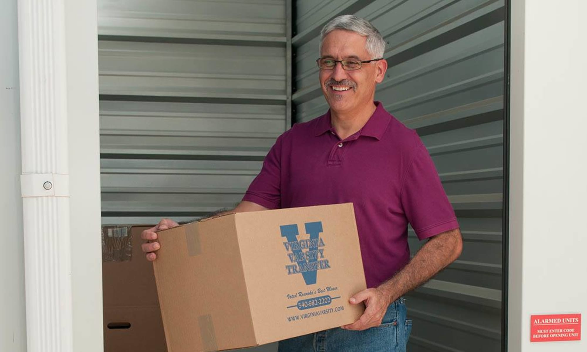 A man storing things at Virginia Varsity Storage in Salem, Virginia