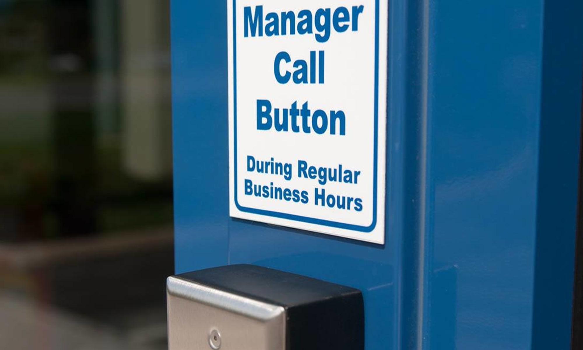 Manager call button at Virginia Varsity Storage in Salem, Virginia