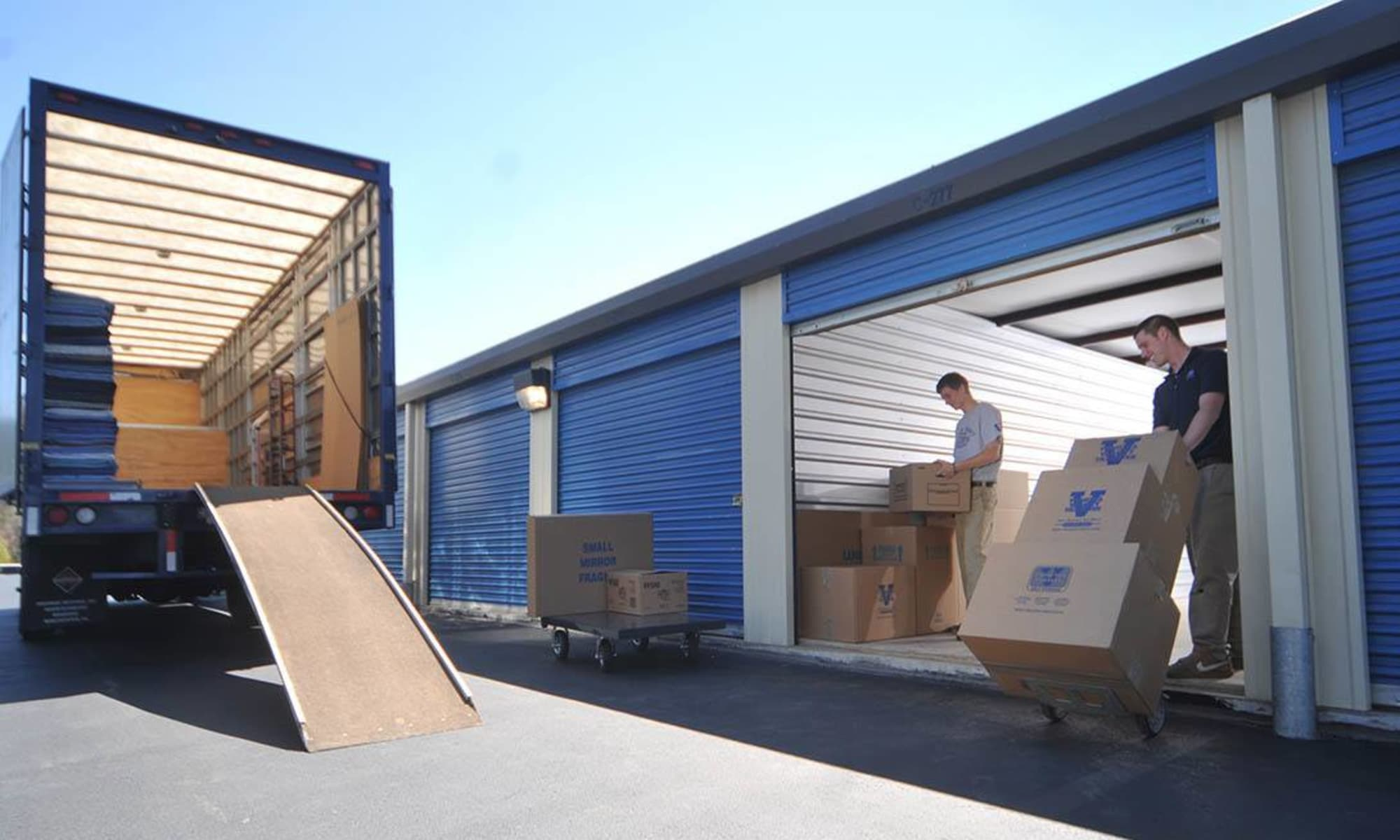 Wide driveways provide enough room for even th biggest loads at Virginia Varsity Storage in Roanoke, Virginia