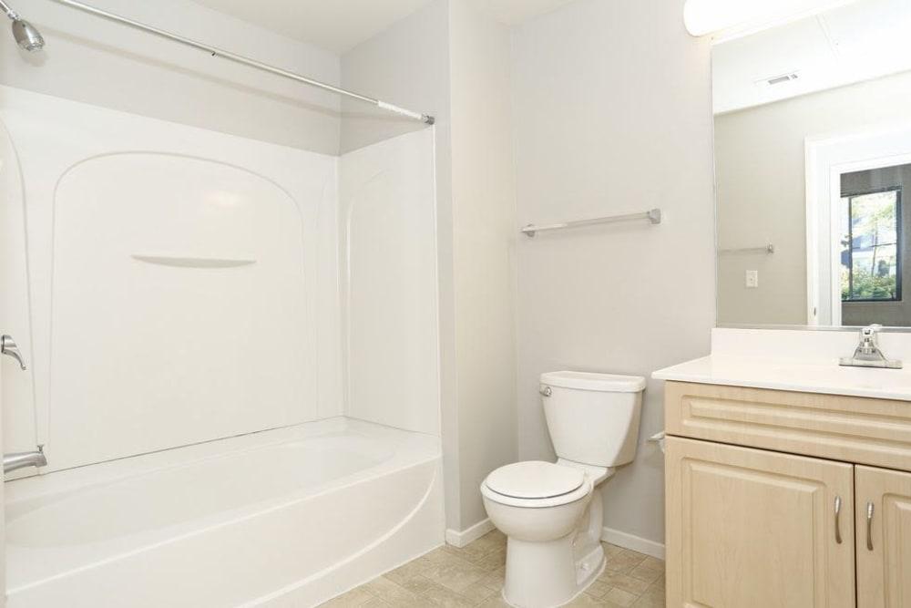 Model bathroom at K Street Flats Apartment Homes in Berkeley, California