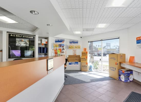 Clean front office at A-1 Self Storage in El Cajon, California