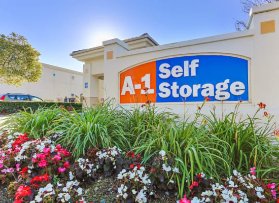 Flowers and our sign at A-1 Self Storage in Paramount, California