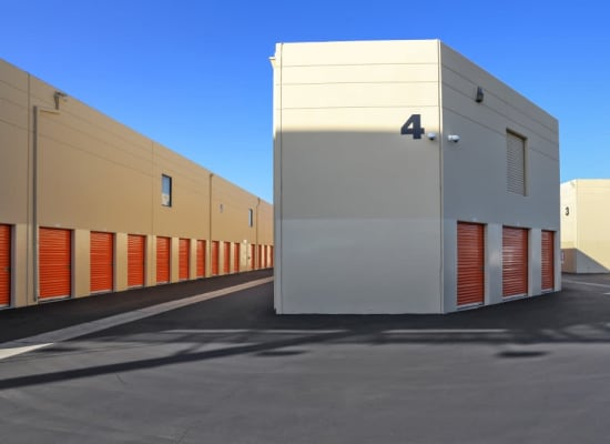 Drive-up self storage units at A-1 Self Storage in Fountain Valley, California