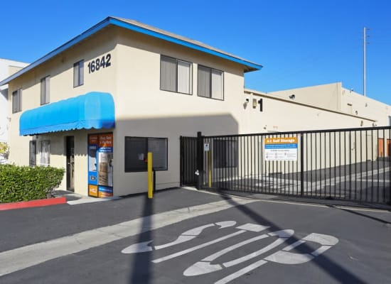 Secure, gated facility at A-1 Self Storage in Fountain Valley, California