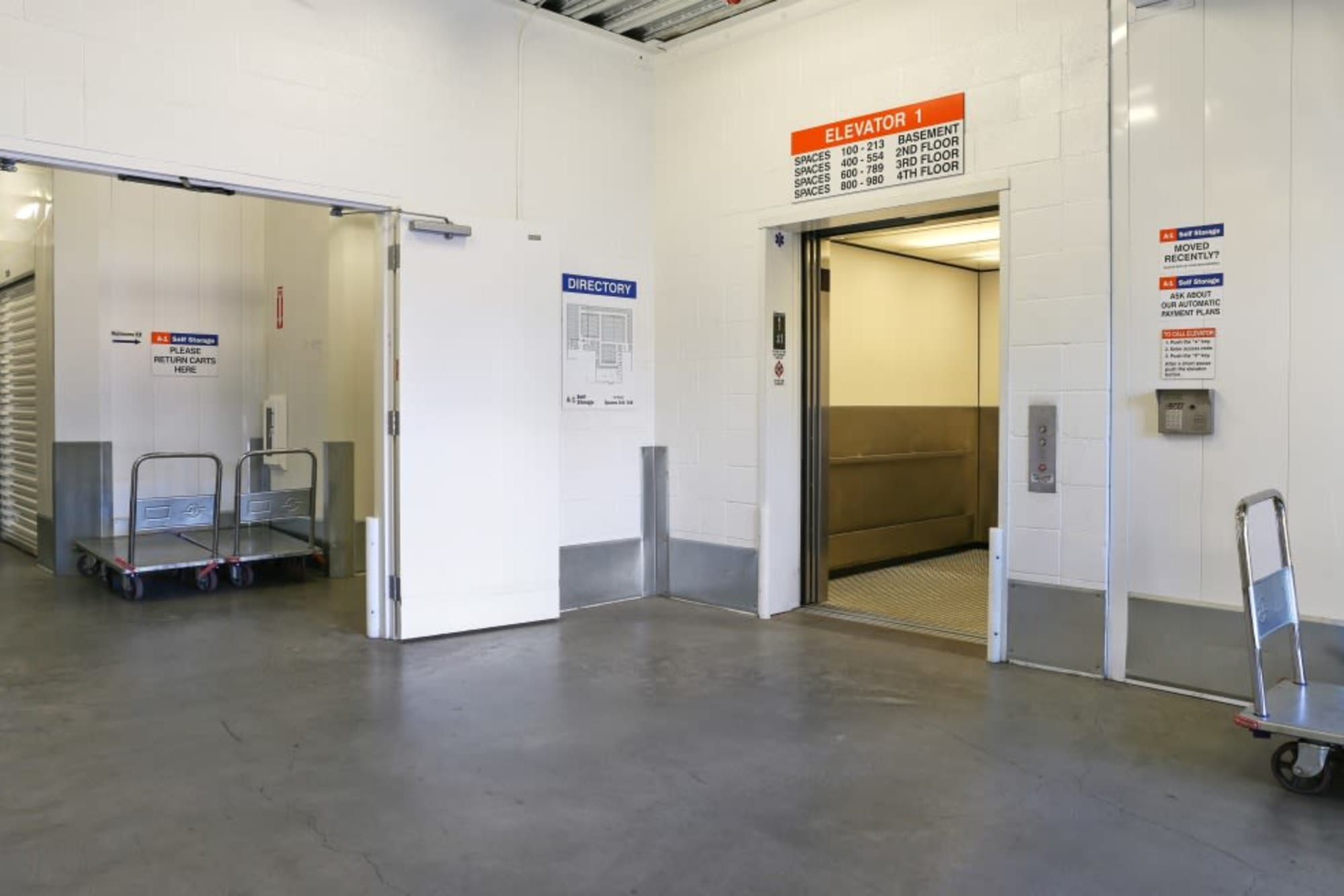 A-1 Self Storage's freight elevator and carts