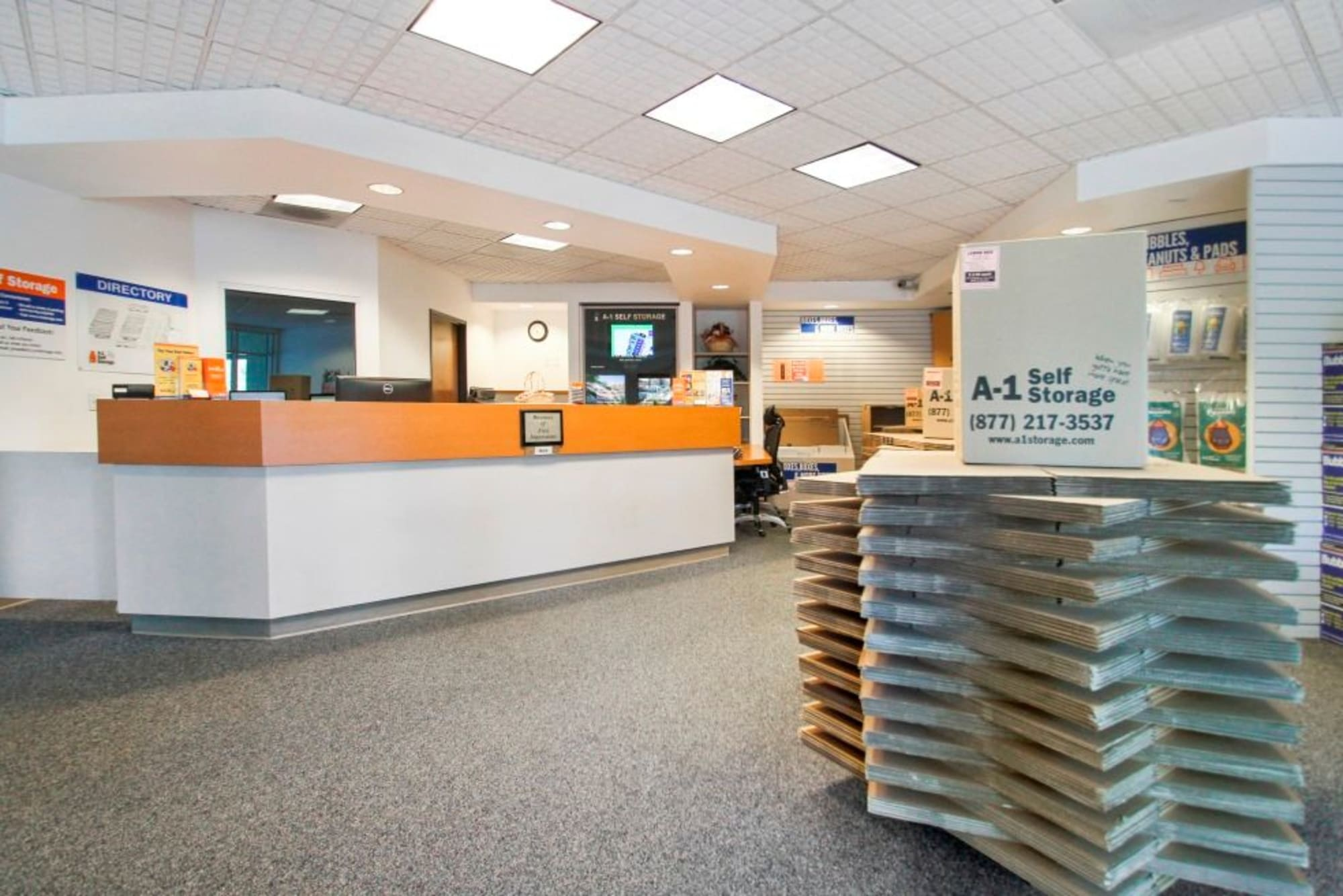 The leasing office and boxes at A-1 Self Storage in Concord, California