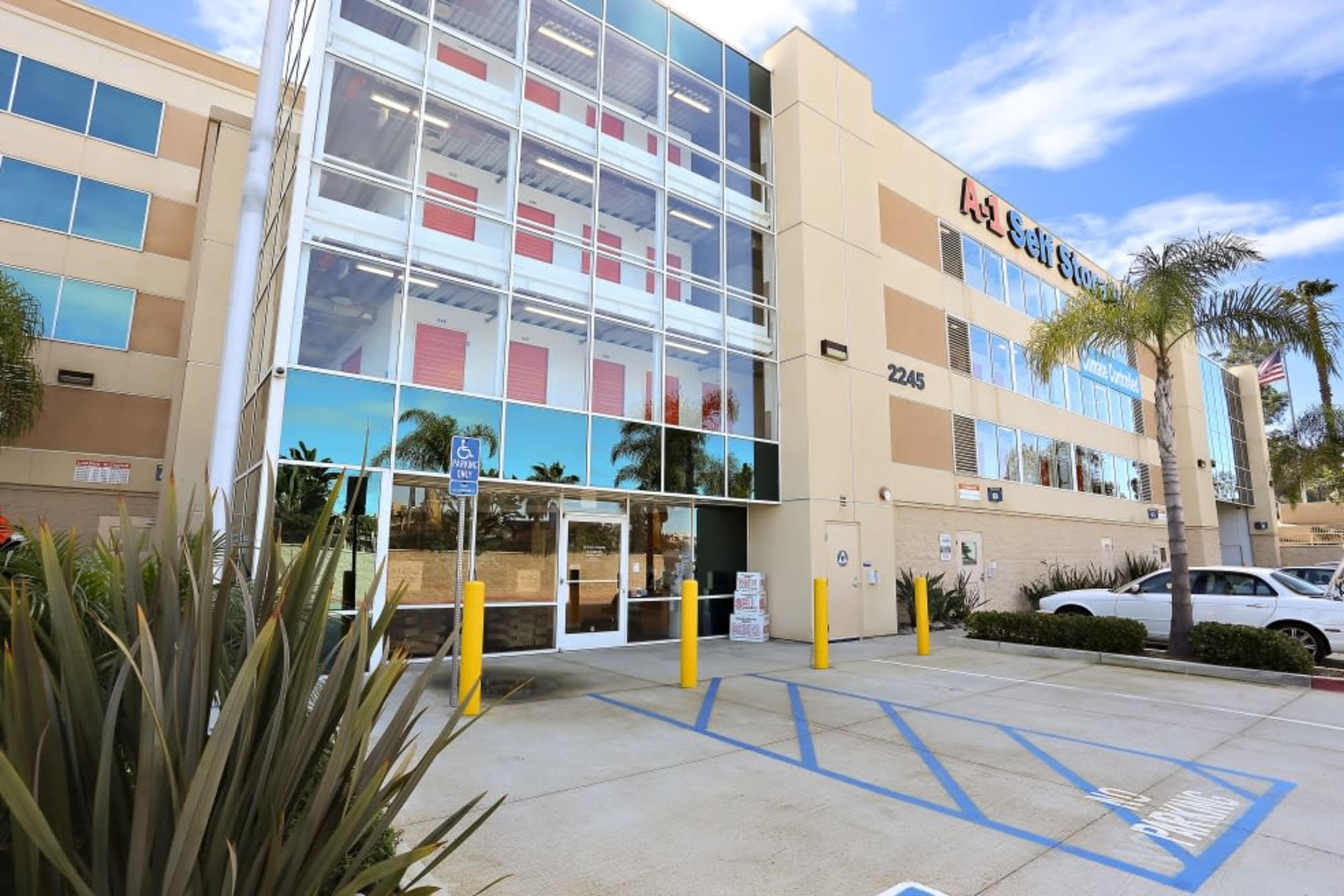 The front entrance of A-1 Self Storage in San Diego, California