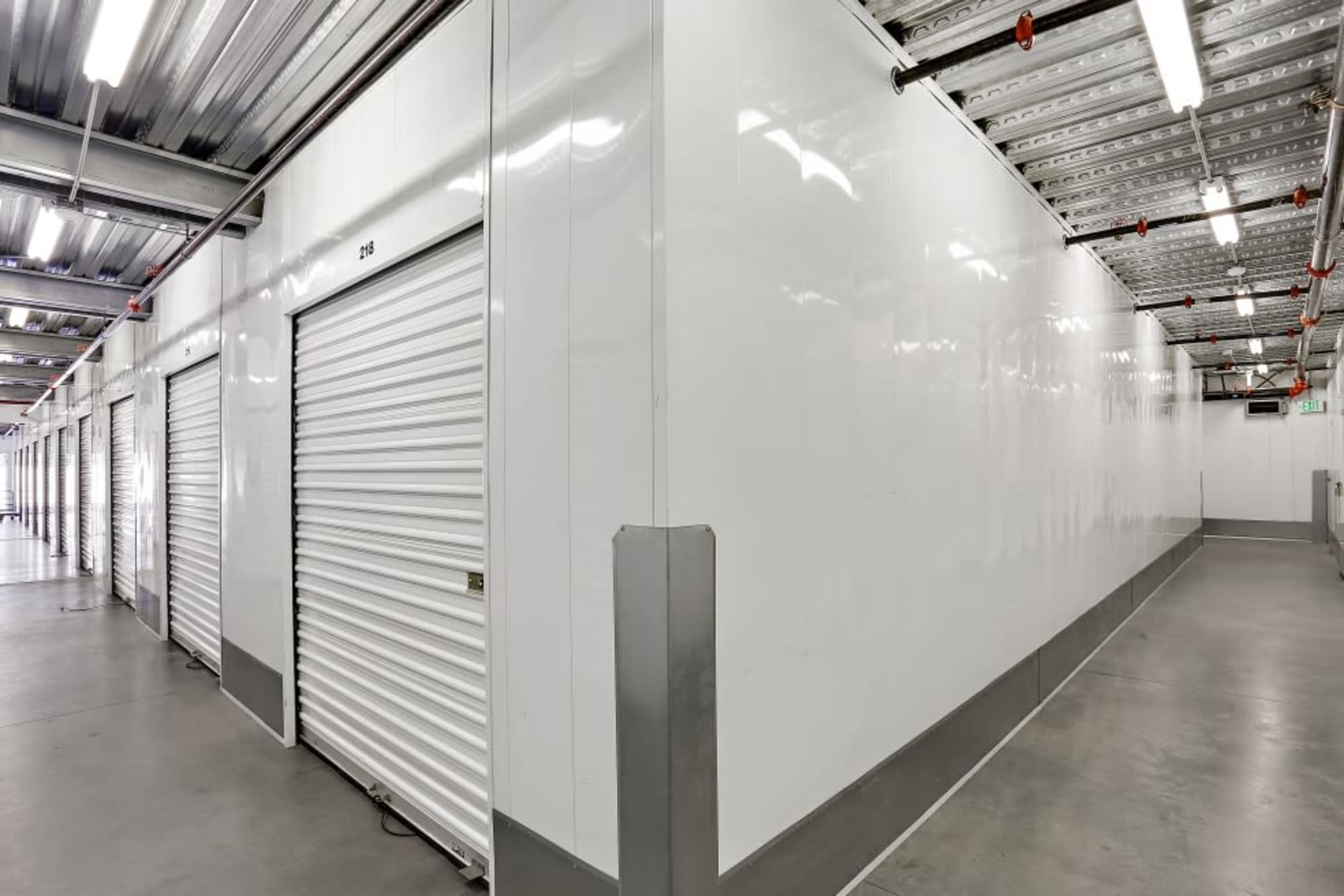 Clean hallways in A-1 Self Storage in San Diego, California