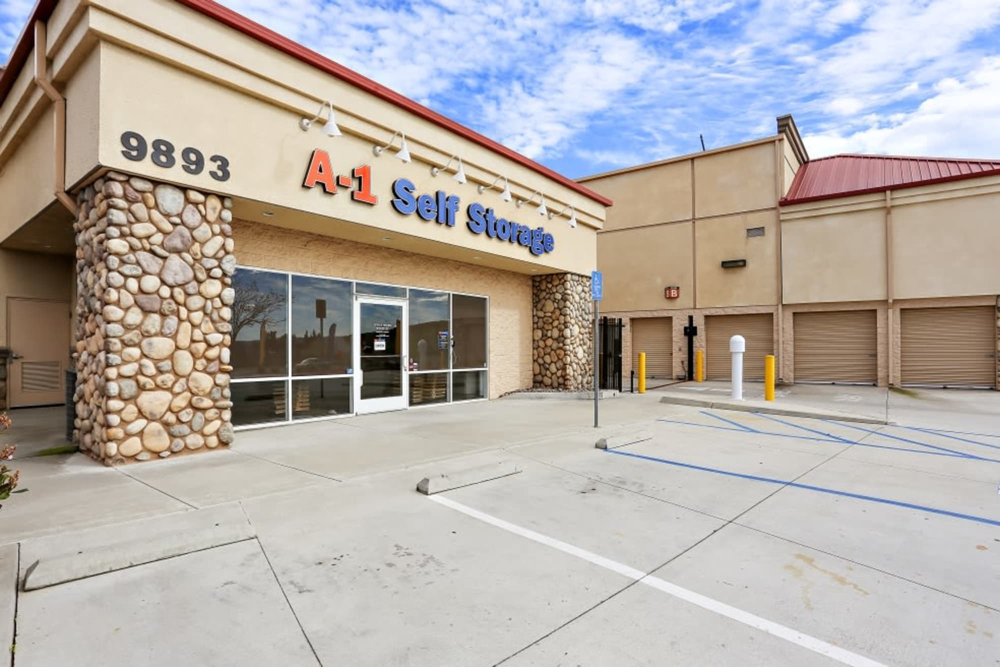The front entrance of A-1 Self Storage in Lakeside, California