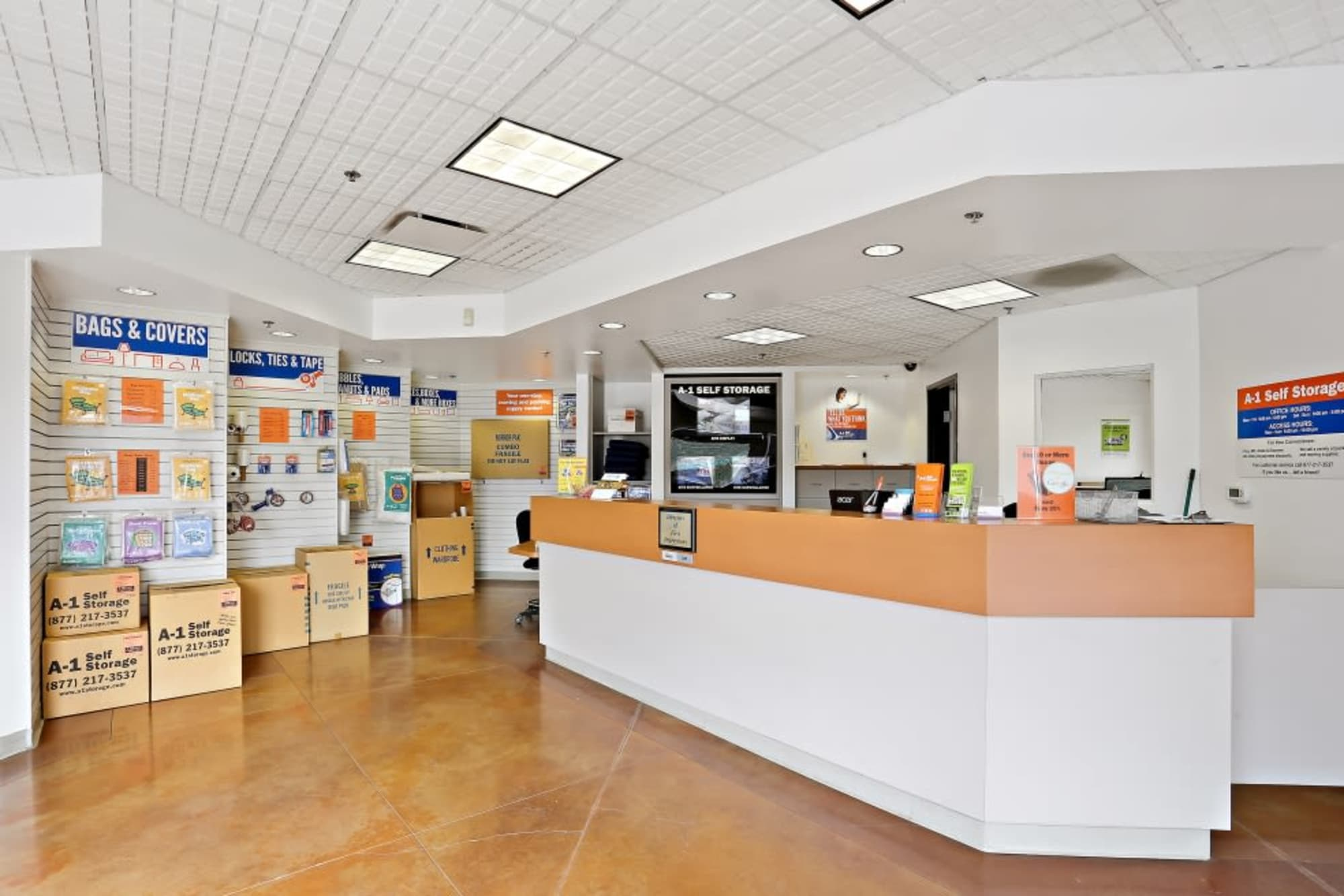 The leasing office and packing supplies at A-1 Self Storage