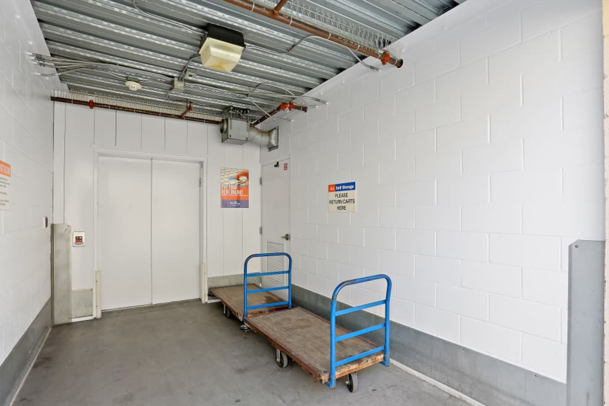 The freight elevator at A-1 Self Storage in Lakeside, California
