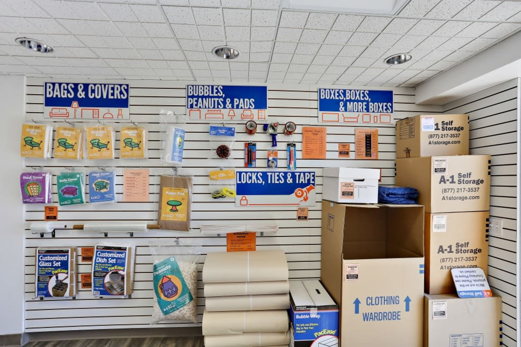 Moving and packing supplies available from A-1 Self Storage in Oceanside, California