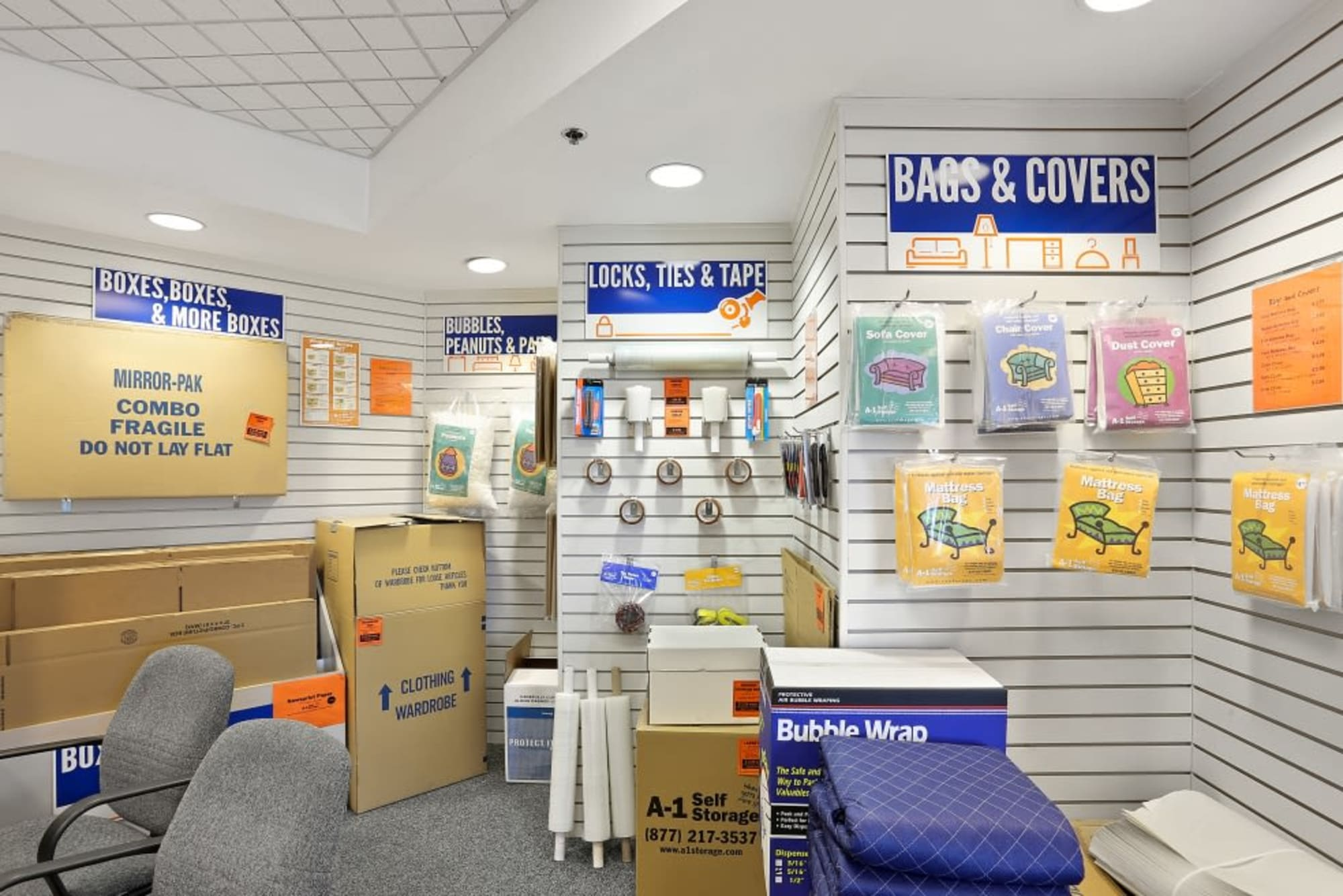 Packing supplies at A-1 Self Storage in San Diego, California
