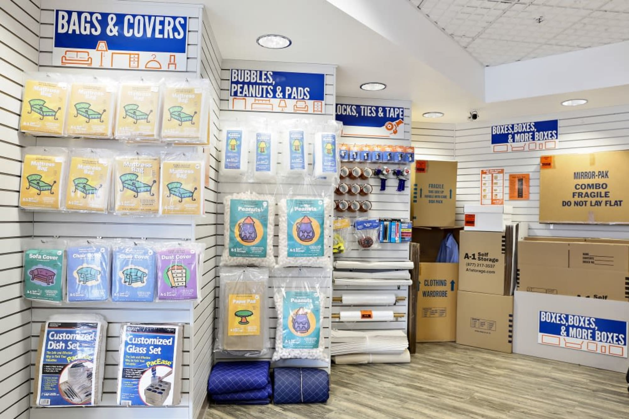 Packing and moving supplies at A-1 Self Storage in San Jose, California