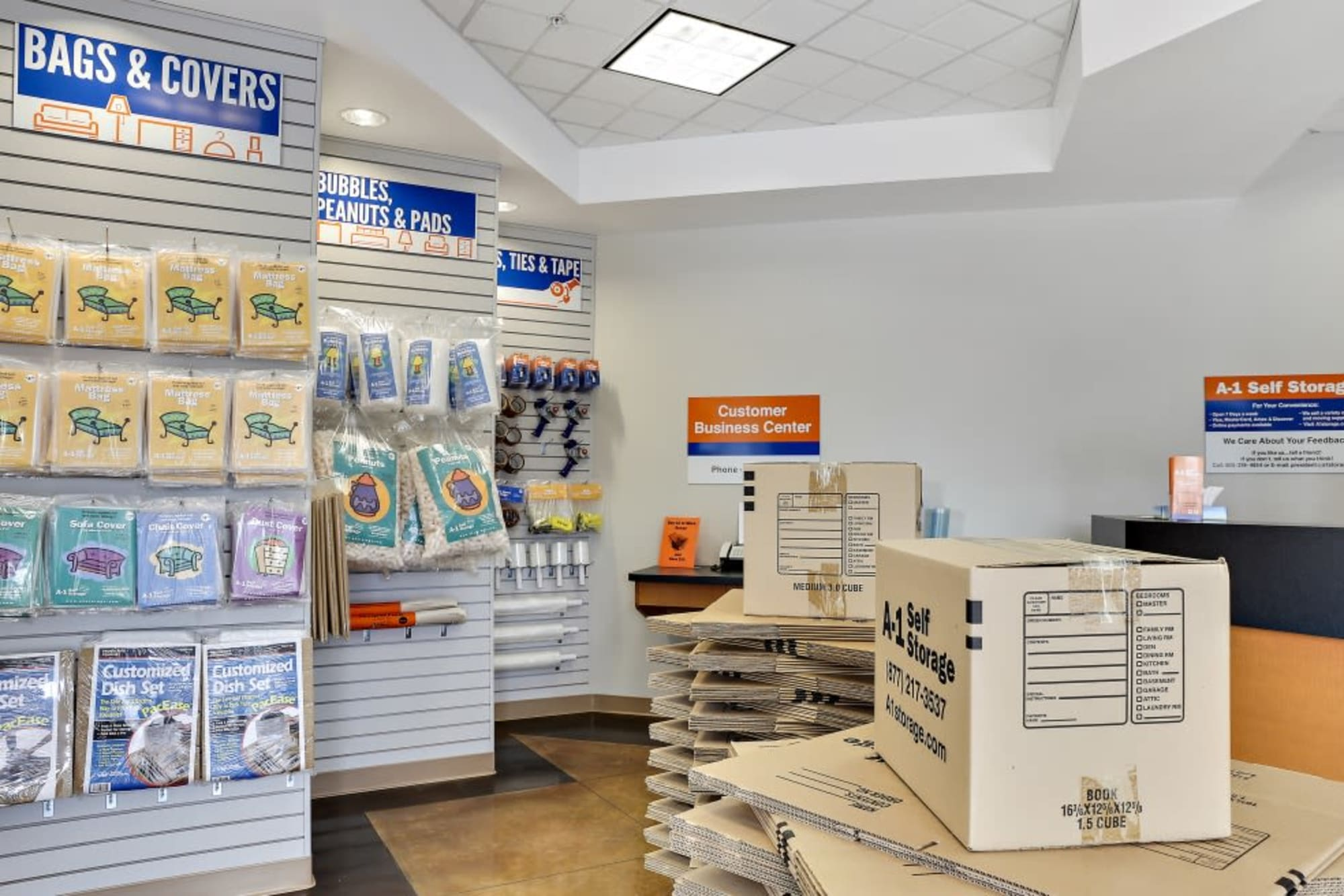Moving and packing supplies available at A-1 Self Storage in San Jose, California