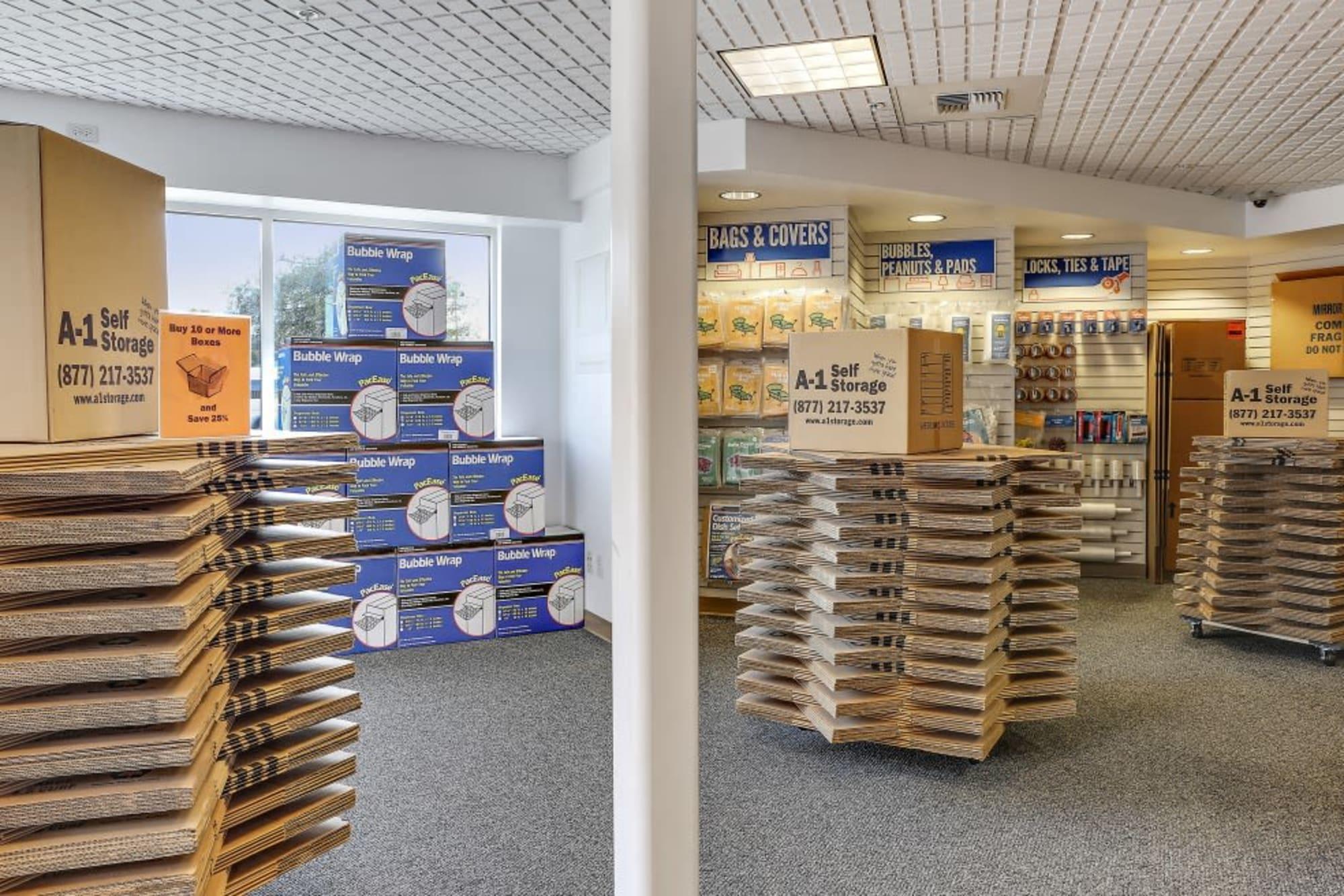 Stacks of boxes at A-1 Self Storage in San Jose, California