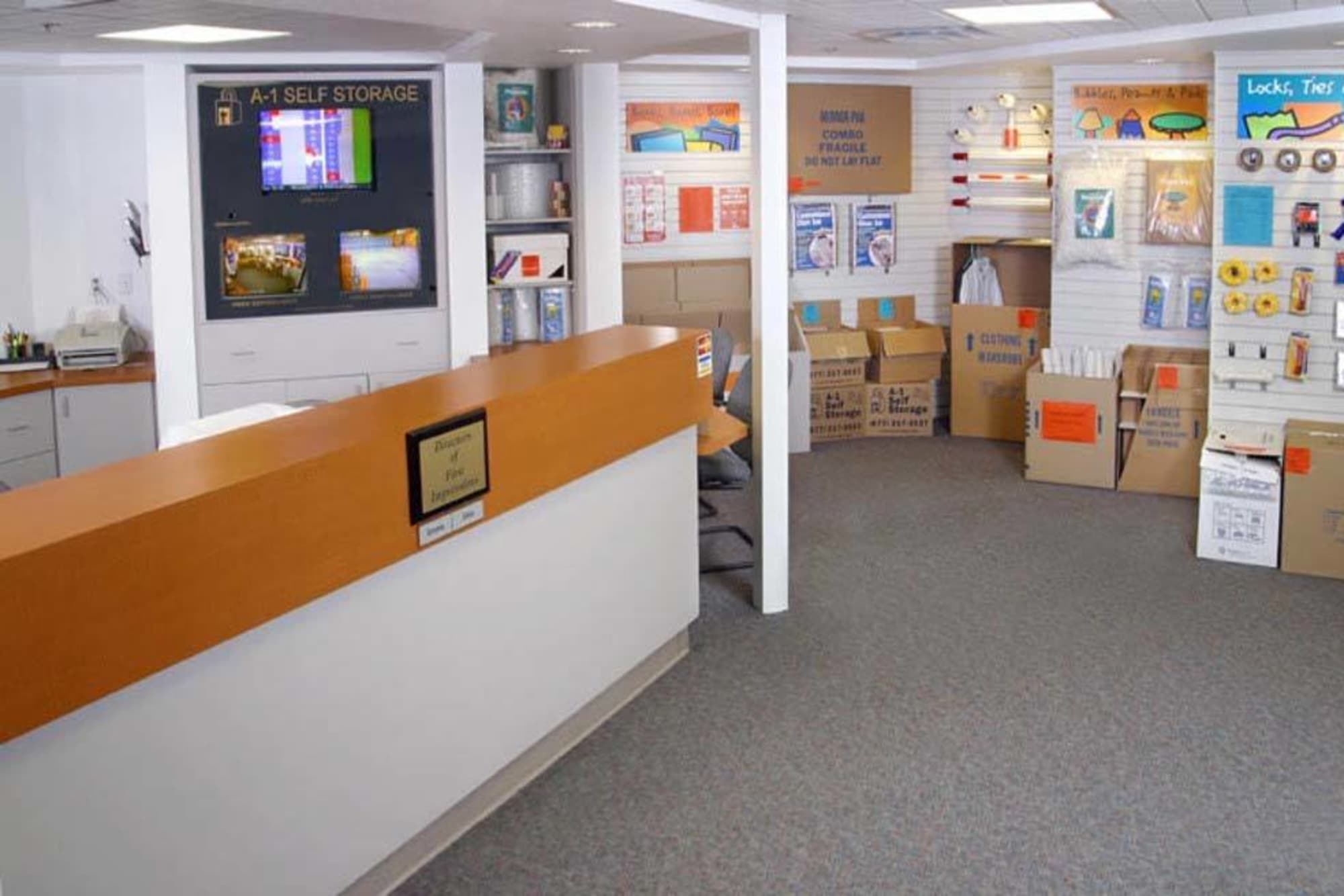 The leasing desk at A-1 Self Storage in San Jose, California
