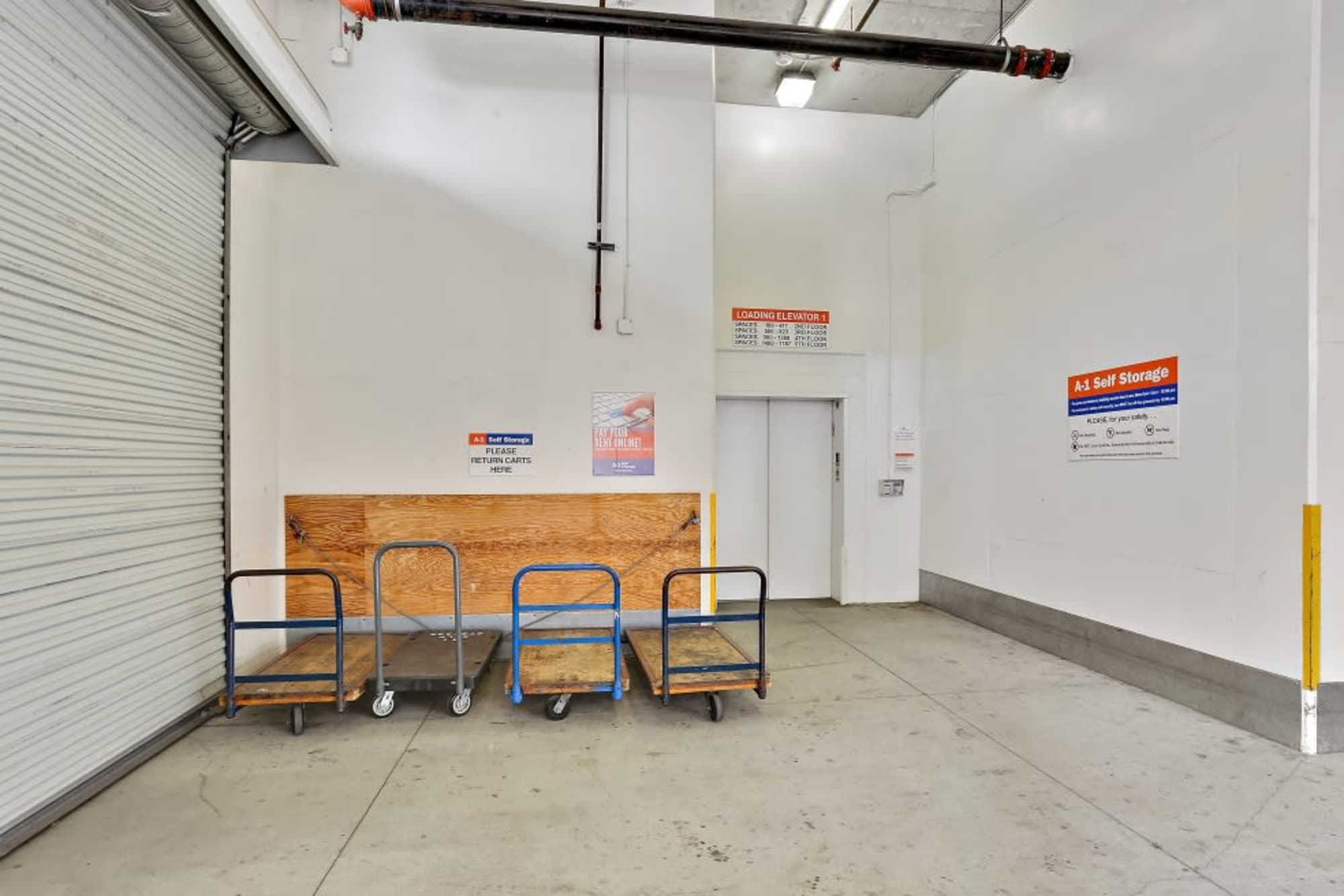 Carts and an elevator at A-1 Self Storage in San Diego, California