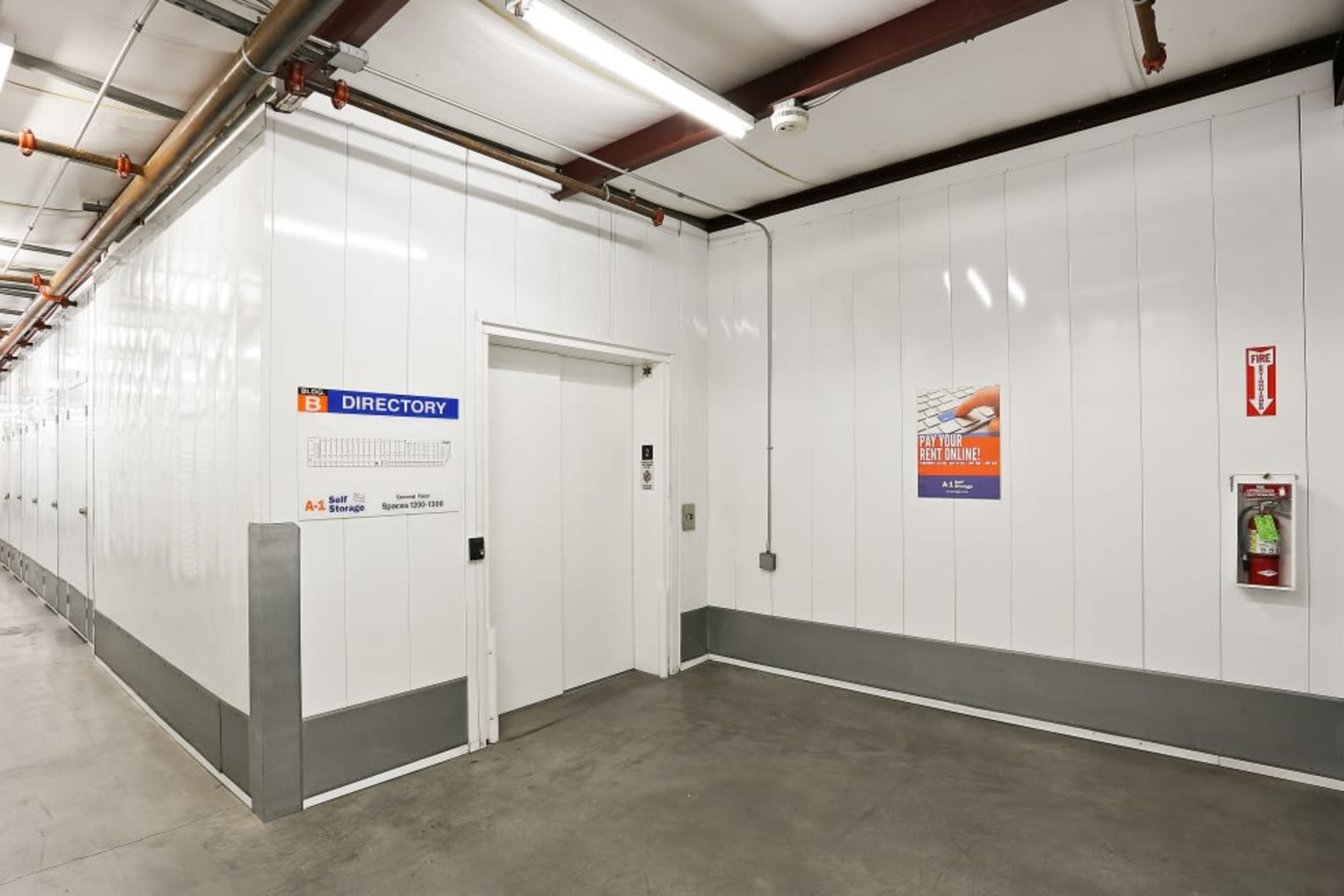 Tall ceilings and a freight elevator at A-1 Self Storage in La Mesa, California