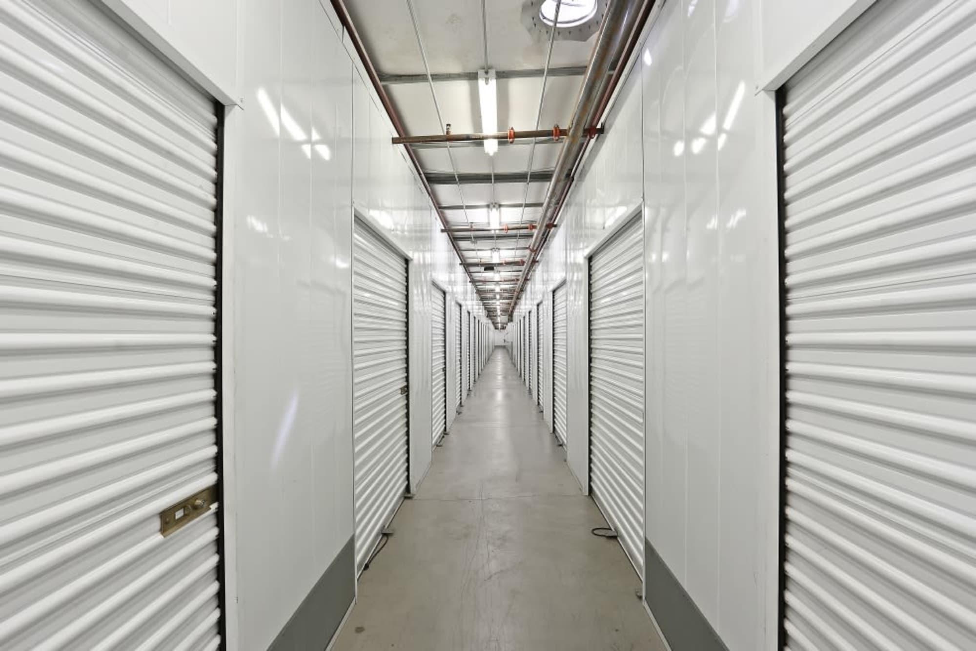 Indoor storage units at A-1 Self Storage in La Mesa, California