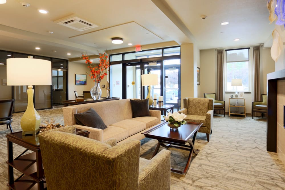 Front entrance and welcome area at The Lofts at Glenwood Place in Vancouver, Washington