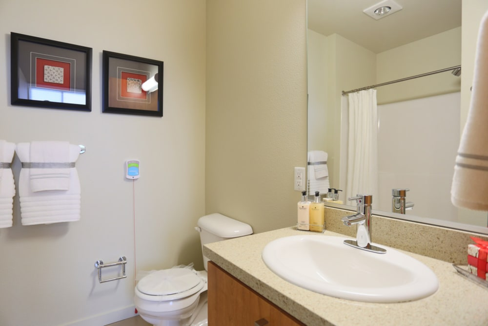 Bathroom in senior living apartment at The Lofts at Glenwood Place in Vancouver, Washington