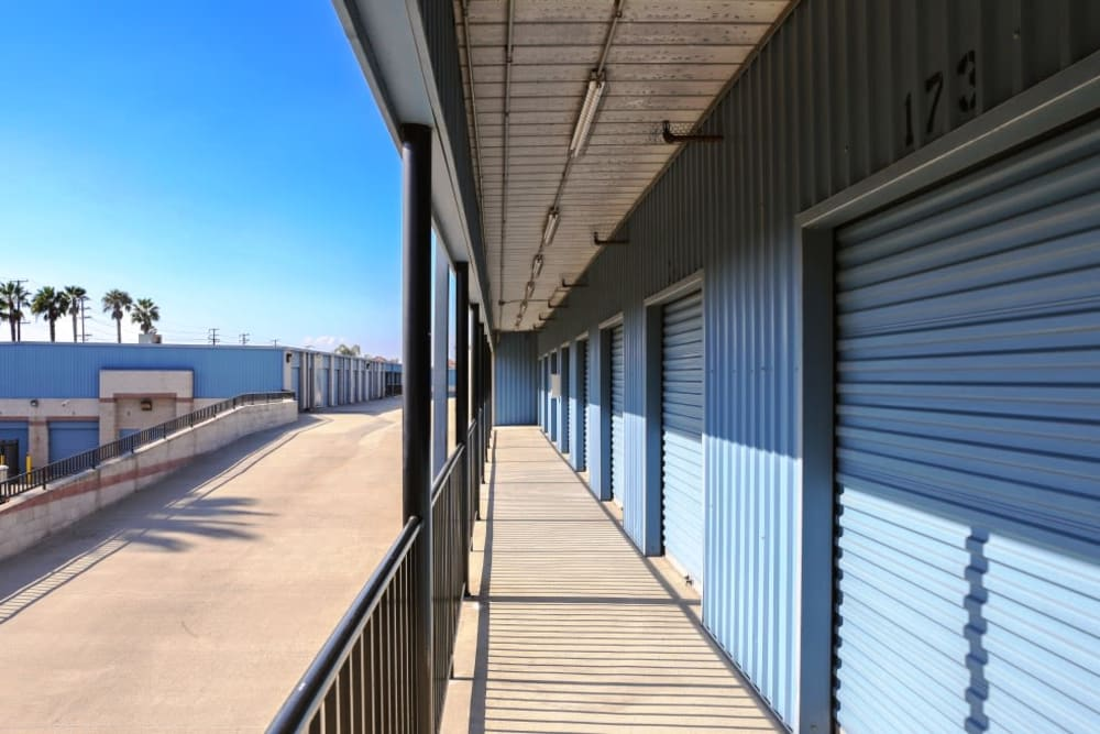 Outside accessed storage units at A-1 Self Storage in Anaheim, California
