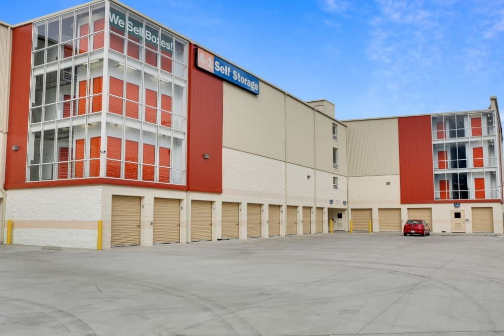 Exterior view of the A-1 Self Storage building and its wide driveway.