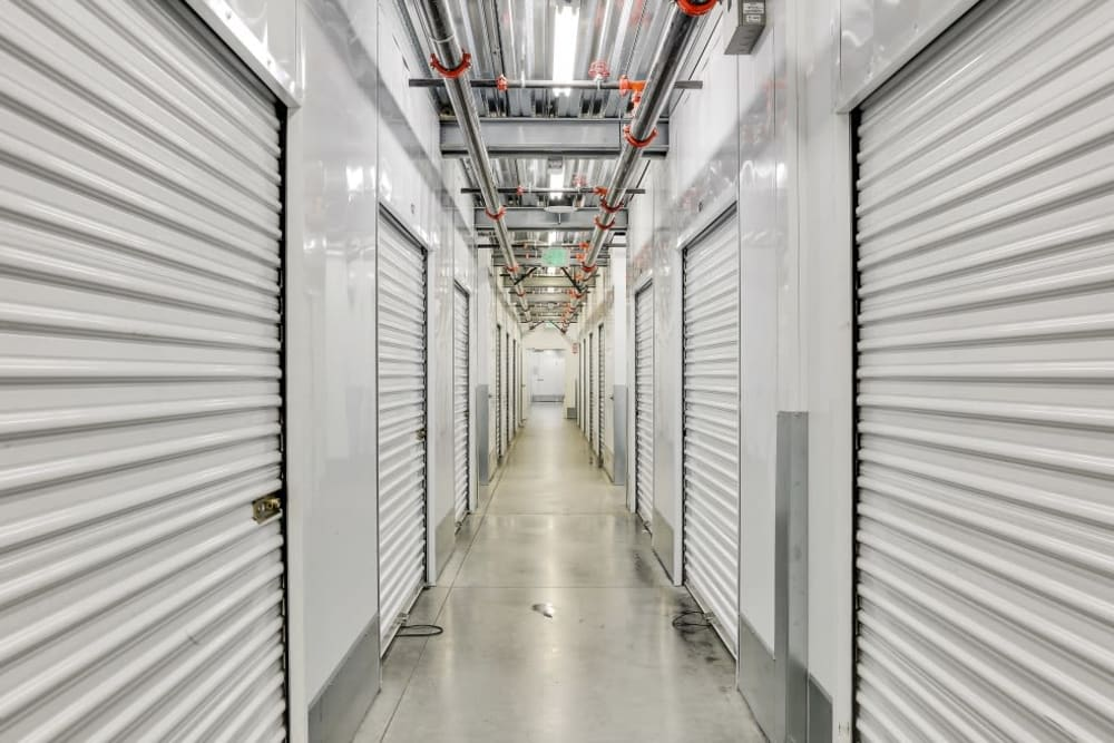 A row of indoor storage units at A-1 Self Storage in Belmont, California