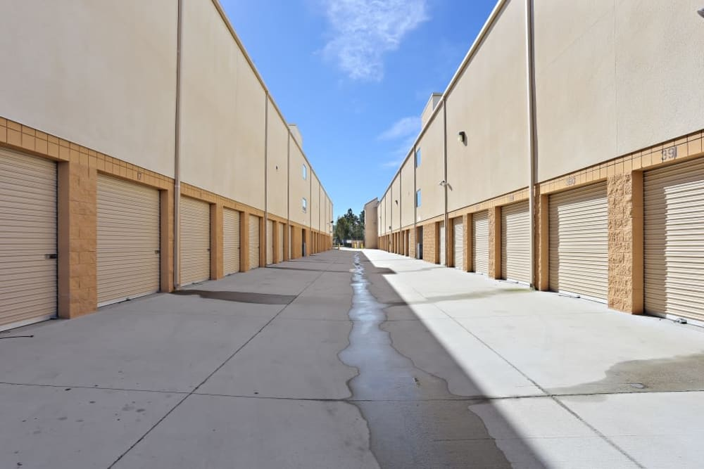 A row of indoor storage units at A-1 Self Storage in Chula Vista, California