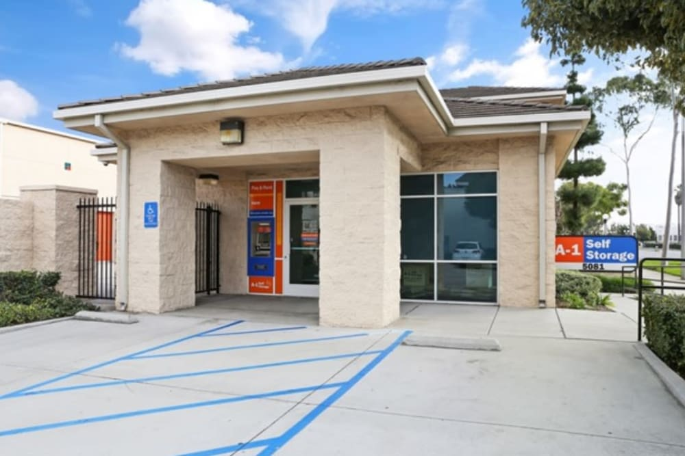 The front entrance to A-1 Self Storage in Cypress, California
