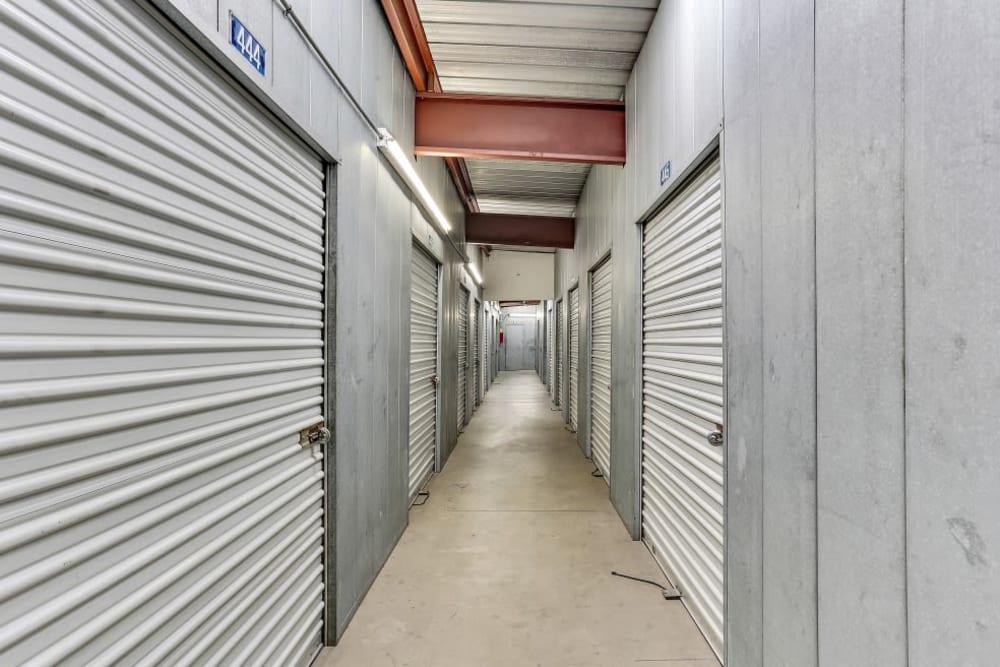 A row of indoor storage units at A-1 Self Storage in El Monte, California