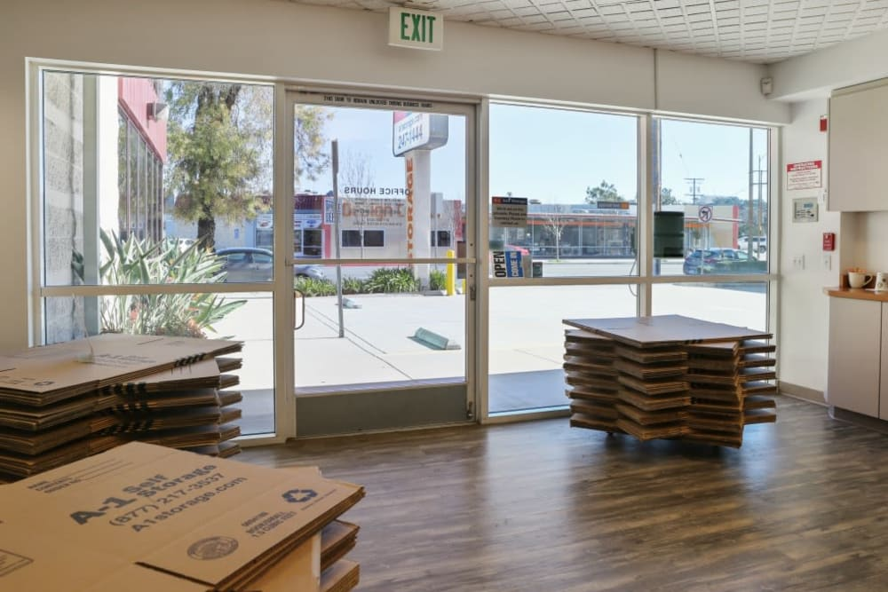 Inside the office at A-1 Self Storage in Glendale, California